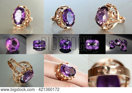 Vintage Ussr Soviet Union Womens 583, 14k Massive Gold Ring With Lab Created Amethyst Faceted Gemsto