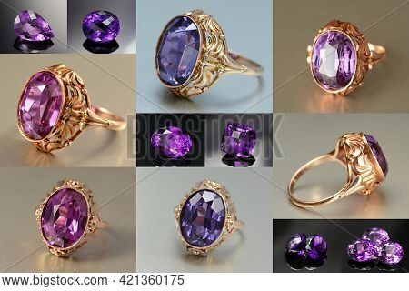 Vintage Ussr Soviet Union Womens 583, 14k Gold Ring With Lab Created Alexandrite Effect Corundum Fac