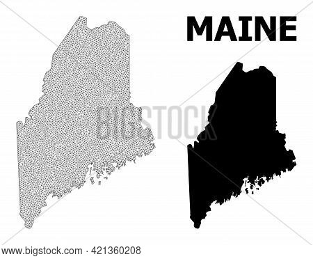 Polygonal Mesh Map Of Maine State In High Resolution. Mesh Lines, Triangles And Points Form Map Of M