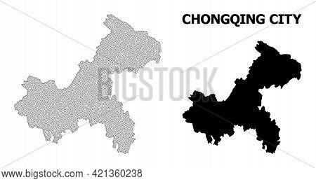 Polygonal Mesh Map Of Chongqing Municipality In High Detail Resolution. Mesh Lines, Triangles And Do