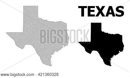 Polygonal Mesh Map Of Texas State In High Detail Resolution. Mesh Lines, Triangles And Points Form M