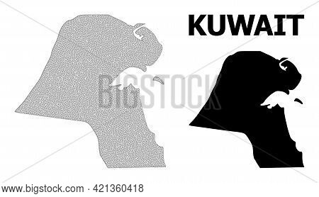 Polygonal Mesh Map Of Kuwait In High Resolution. Mesh Lines, Triangles And Dots Form Map Of Kuwait.