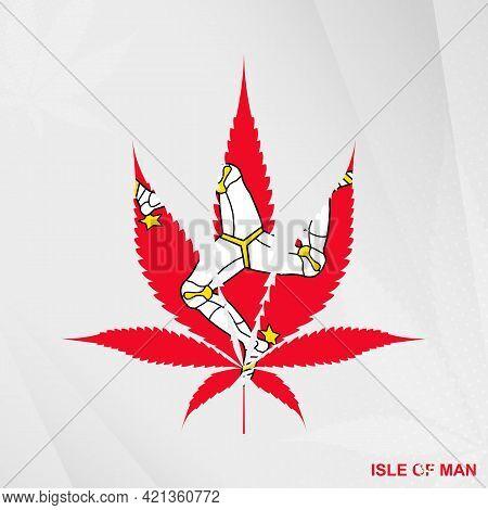 Flag Of Isle Of Man In Marijuana Leaf Shape. The Concept Of Legalization Cannabis In Isle Of Man. Me