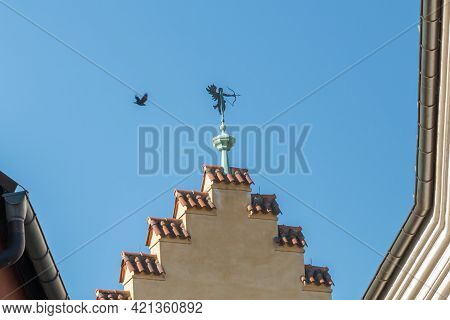 Weather Vane Is Aiming With At A Flying Bird With Bow And Arrow