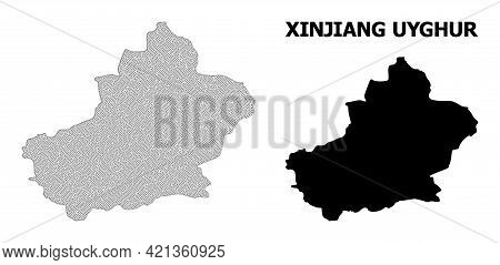 Polygonal Mesh Map Of Xinjiang Uyghur Region In High Detail Resolution. Mesh Lines, Triangles And Po