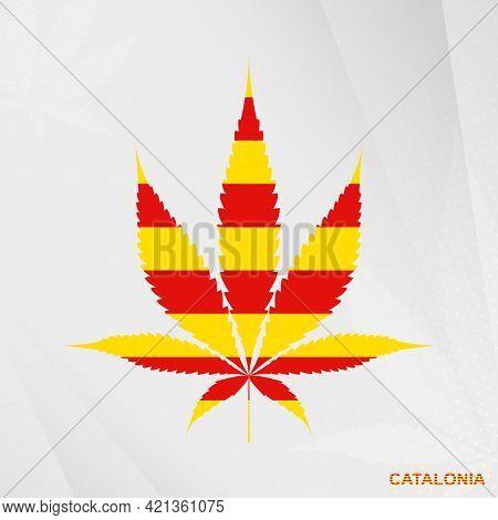 Flag Of Catalonia In Marijuana Leaf Shape. The Concept Of Legalization Cannabis In Catalonia. Medica