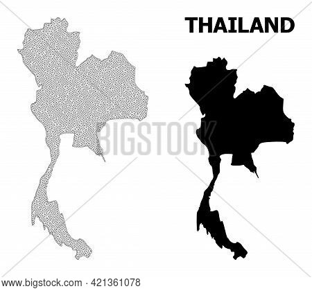 Polygonal Mesh Map Of Thailand In High Detail Resolution. Mesh Lines, Triangles And Points Form Map