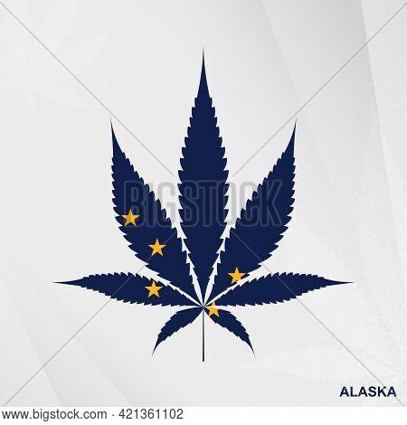 Flag Of Alaska In Marijuana Leaf Shape. The Concept Of Legalization Cannabis In Alaska. Medical Cann