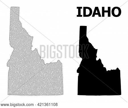 Polygonal Mesh Map Of Idaho State In High Resolution. Mesh Lines, Triangles And Points Form Map Of I