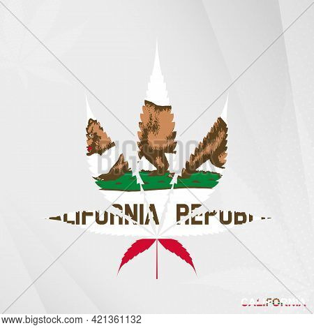 Flag Of California In Marijuana Leaf Shape. The Concept Of Legalization Cannabis In California. Medi
