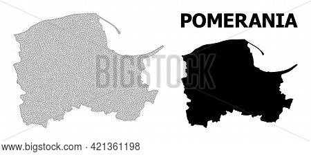 Polygonal Mesh Map Of Pomerania Province In High Detail Resolution. Mesh Lines, Triangles And Points