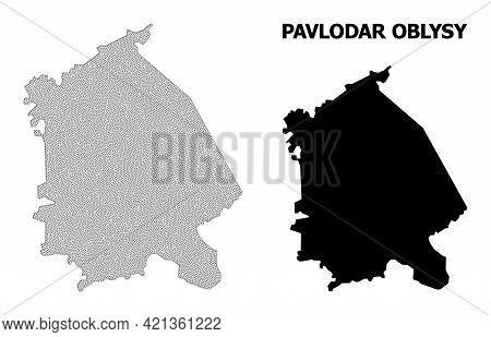 Polygonal Mesh Map Of Pavlodar Region In High Resolution. Mesh Lines, Triangles And Points Form Map