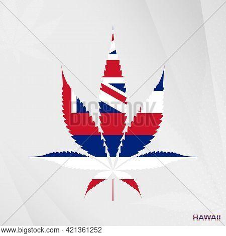 Flag Of Hawaii In Marijuana Leaf Shape. The Concept Of Legalization Cannabis In Hawaii. Medical Cann