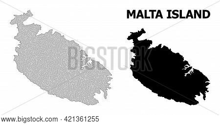 Polygonal Mesh Map Of Malta Island In High Resolution. Mesh Lines, Triangles And Points Form Map Of