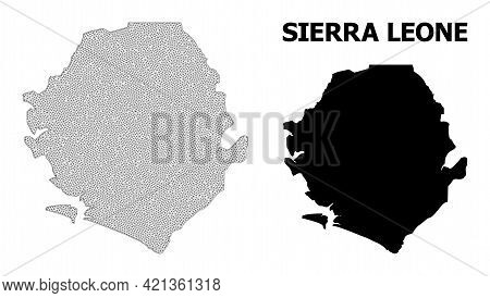Polygonal Mesh Map Of Sierra Leone In High Detail Resolution. Mesh Lines, Triangles And Dots Form Ma