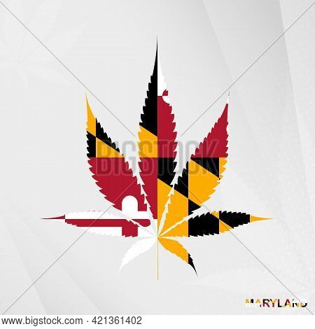 Flag Of Maryland In Marijuana Leaf Shape. The Concept Of Legalization Cannabis In Maryland. Medical
