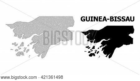 Polygonal Mesh Map Of Guinea-bissau In High Detail Resolution. Mesh Lines, Triangles And Points Form