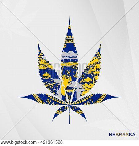 Flag Of Nebraska In Marijuana Leaf Shape. The Concept Of Legalization Cannabis In Nebraska. Medical