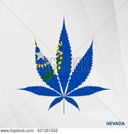 Flag Of Nevada In Marijuana Leaf Shape. The Concept Of Legalization Cannabis In Nevada. Medical Cann