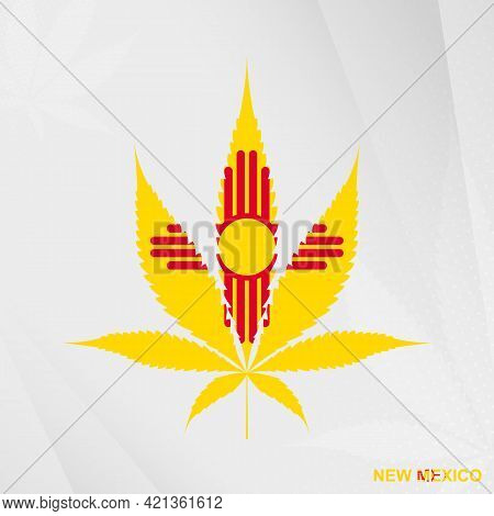 Flag Of New Mexico In Marijuana Leaf Shape. The Concept Of Legalization Cannabis In New Mexico. Medi