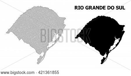Polygonal Mesh Map Of Rio Grande Do Sul State In High Detail Resolution. Mesh Lines, Triangles And D