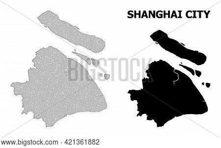 Polygonal Mesh Map Of Shanghai Municipality In High Resolution. Mesh Lines, Triangles And Points For