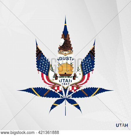 Flag Of Utah In Marijuana Leaf Shape. The Concept Of Legalization Cannabis In Utah. Medical Cannabis