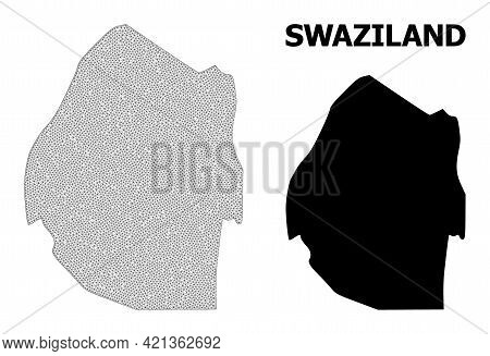 Polygonal Mesh Map Of Swaziland In High Resolution. Mesh Lines, Triangles And Points Form Map Of Swa