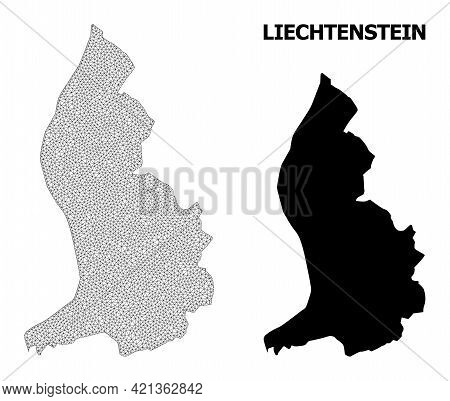 Polygonal Mesh Map Of Liechtenstein In High Resolution. Mesh Lines, Triangles And Dots Form Map Of L