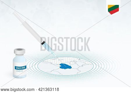Covid-19 Vaccination In Lithuania, Coronavirus Vaccination Illustration With Vaccine Bottle And Syri