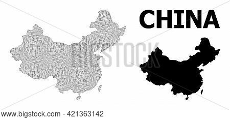 Polygonal Mesh Map Of China In High Resolution. Mesh Lines, Triangles And Dots Form Map Of China. Hi