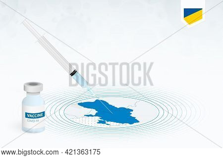 Covid-19 Vaccination In Ukraine, Coronavirus Vaccination Illustration With Vaccine Bottle And Syring