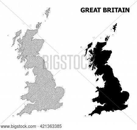 Polygonal Mesh Map Of Great Britain In High Detail Resolution. Mesh Lines, Triangles And Dots Form M
