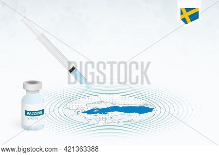 Covid-19 Vaccination In Sweden, Coronavirus Vaccination Illustration With Vaccine Bottle And Syringe
