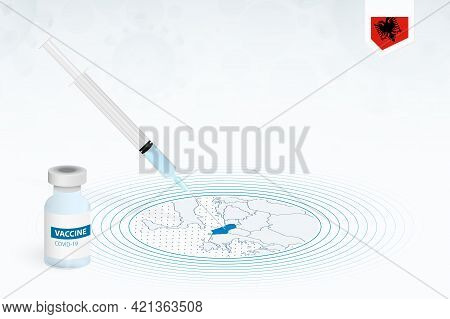 Covid-19 Vaccination In Albania, Coronavirus Vaccination Illustration With Vaccine Bottle And Syring