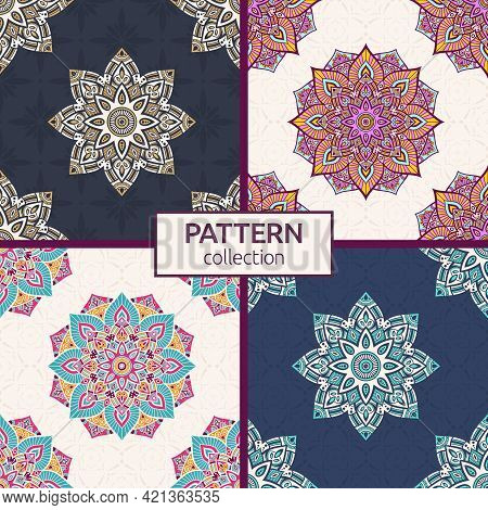 Set Of Four Seamless Vector Color Patterns With Mandala. Abstract Oriental Mandala Background. Vinta