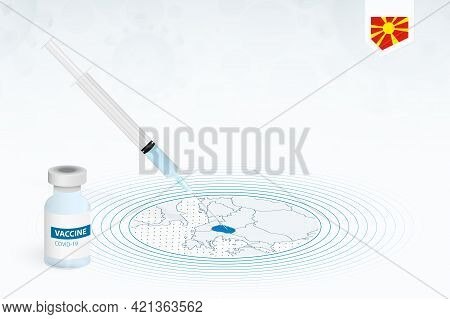 Covid-19 Vaccination In Macedonia, Coronavirus Vaccination Illustration With Vaccine Bottle And Syri