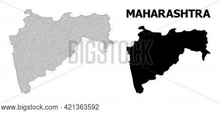 Polygonal Mesh Map Of Maharashtra State In High Detail Resolution. Mesh Lines, Triangles And Dots Fo