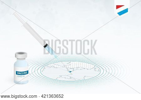 Covid-19 Vaccination In Luxembourg, Coronavirus Vaccination Illustration With Vaccine Bottle And Syr