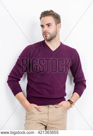 Trendy Type. Handsome Man Keep Hands In Pants Pockets. Casual Wardrobe. Trendy Menswear