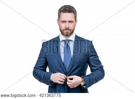 Middle-aged Businessman Wear Elegant Blue Suit In Business Formal Style Isolated On White, Elegance
