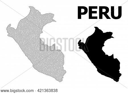 Polygonal Mesh Map Of Peru In High Detail Resolution. Mesh Lines, Triangles And Points Form Map Of P