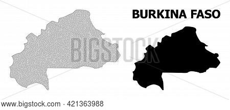 Polygonal Mesh Map Of Burkina Faso In High Detail Resolution. Mesh Lines, Triangles And Points Form