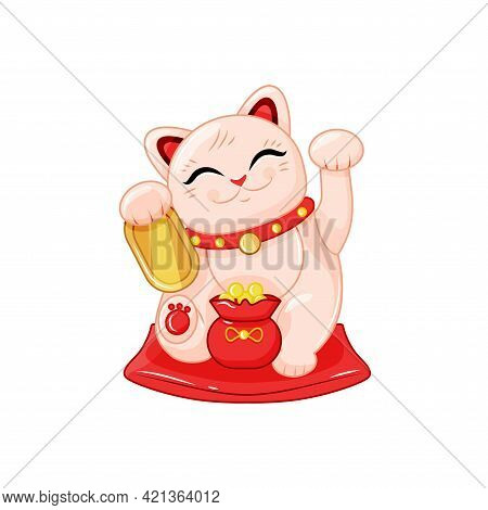 Japanese Lucky Cat With A Bag Of Gold Coins. Maneki Neko. The Symbol Of Wealth. Vector Illustration