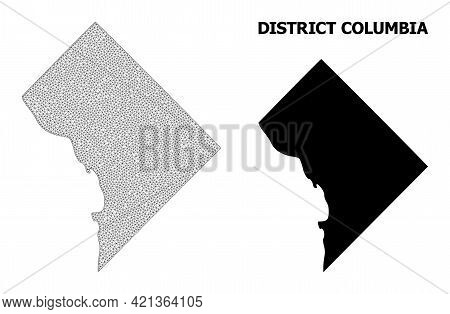 Polygonal Mesh Map Of District Columbia In High Resolution. Mesh Lines, Triangles And Dots Form Map