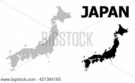 Polygonal Mesh Map Of Japan In High Resolution. Mesh Lines, Triangles And Dots Form Map Of Japan. Hi
