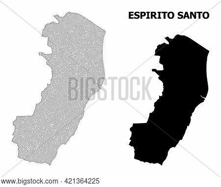 Polygonal Mesh Map Of Espirito Santo State In High Detail Resolution. Mesh Lines, Triangles And Dots