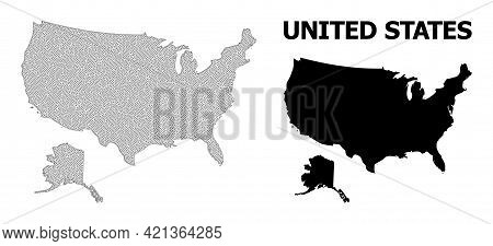 Polygonal Mesh Map Of Usa And Alaska In High Resolution. Mesh Lines, Triangles And Dots Form Map Of