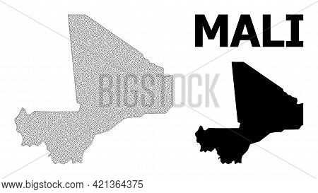 Polygonal Mesh Map Of Mali In High Detail Resolution. Mesh Lines, Triangles And Dots Form Map Of Mal