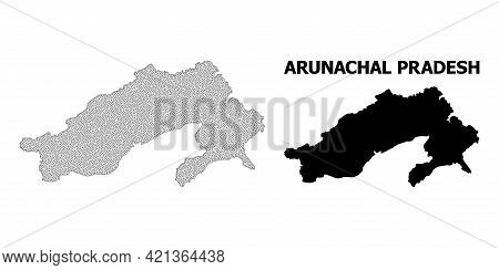 Polygonal Mesh Map Of Arunachal Pradesh State In High Detail Resolution. Mesh Lines, Triangles And P